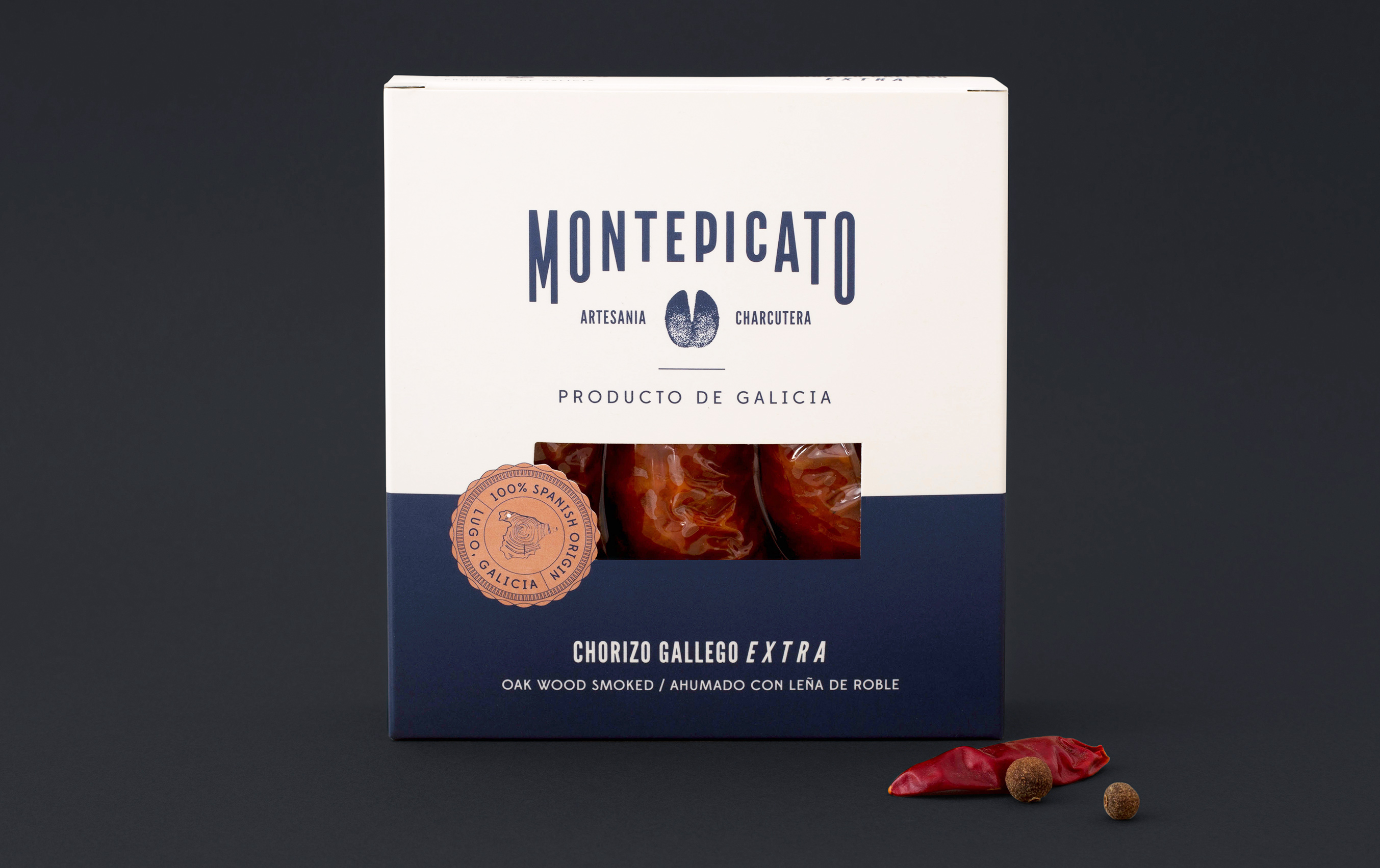 Diseño packaging embutidos Montepicato chorizo extra