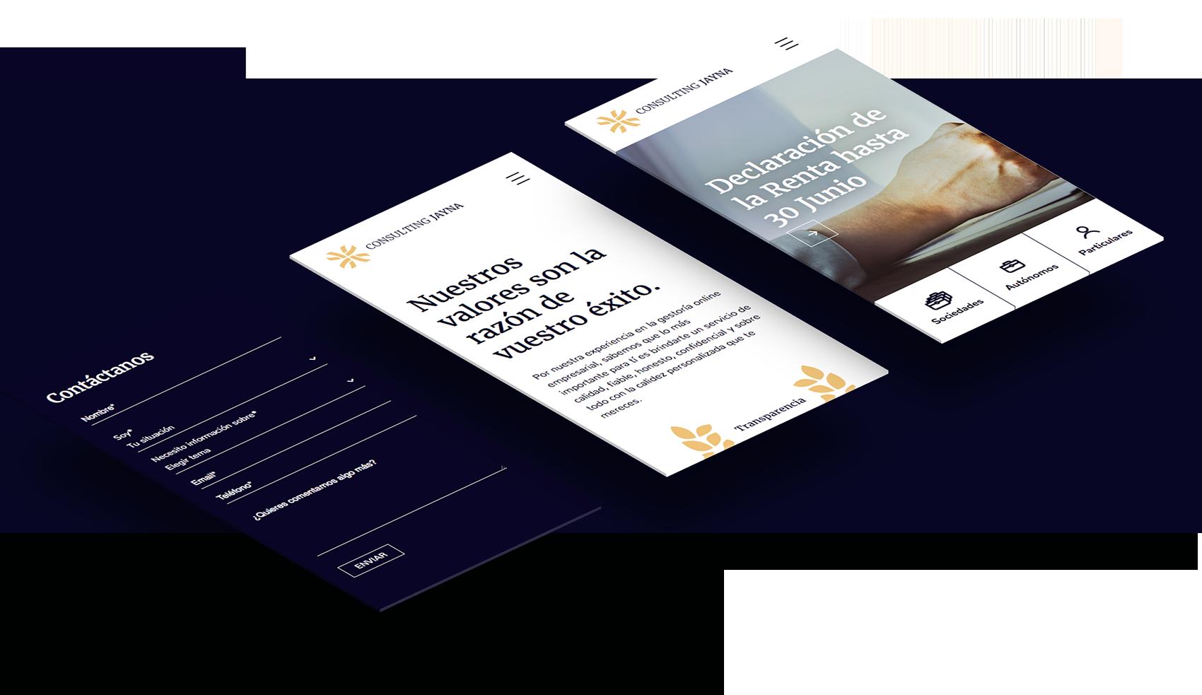 Consulting Jayna Financiero Contabilidad branding pantallas web