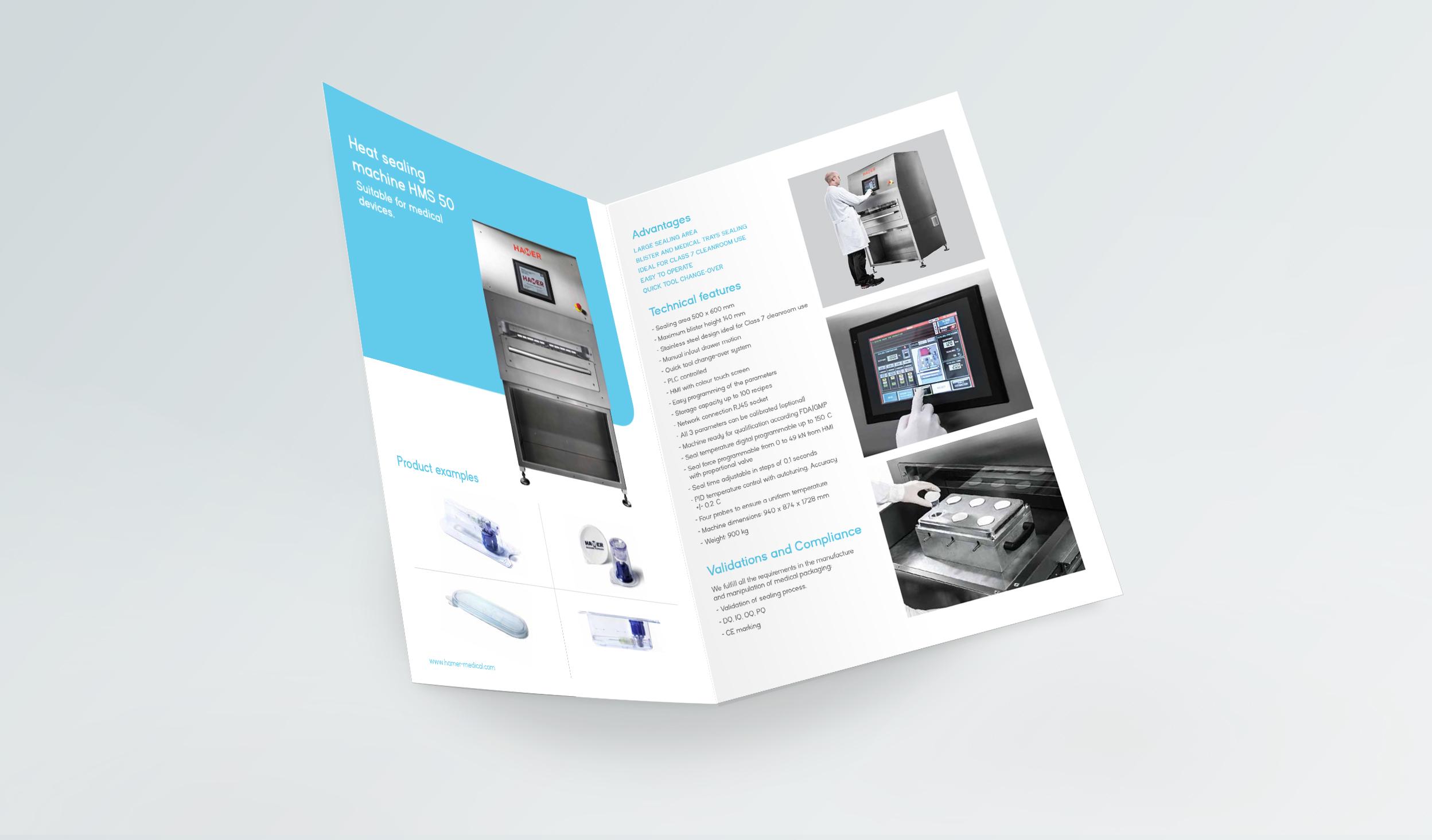 diseño catálogo HAMER-medical-diptico-selladora