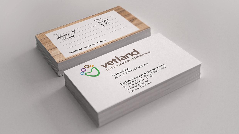 Diseño tarjeta corporativa clínica veterinaria Vetland