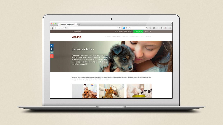 Diseño web responsiva clínica veterinaria Vetland